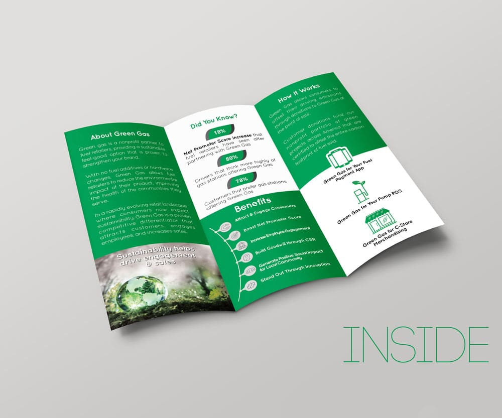 Green Gas Brochure provided by Outflow designs agency
