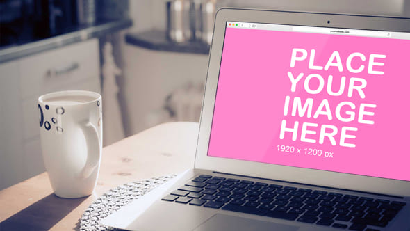 Laptop Screen beside Mug design is provided free of charge by Outflow Designs