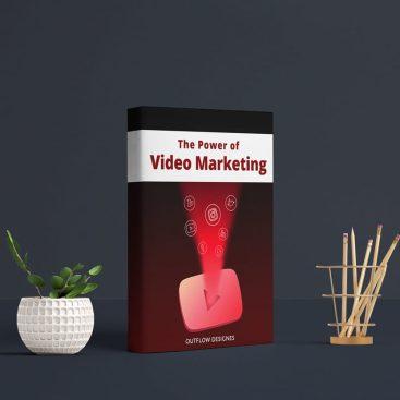 يساعد غلاف كتاب قوة تسويق الفيديو على لفت انتباه الجمهور والعمل على زيادة العملاء والتعرف عليها بمجرد رؤيتها فى جميع المعارض لأن ألأوانها تعتبر من الألوان الملفته للنظر