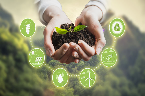 Sustainable development, ecology and environment protection concept Female hands with icons around referring to the earth planet, renewable energy, people and natural resources, recycling