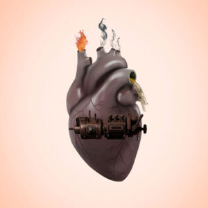 Contaminated heart concept, burned heart concept, save the life concept, stop pollution