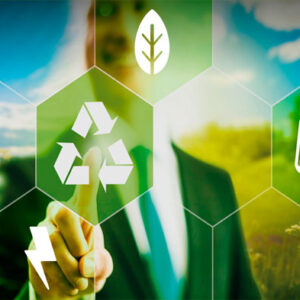 Business man pointing on recycling icon, green future, sustainable development concept