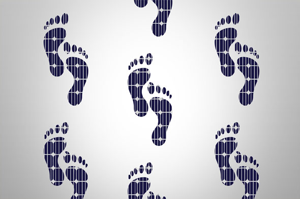 Feet to sustainability, feet with solar cells walking to sustainable life, renewable energy concept